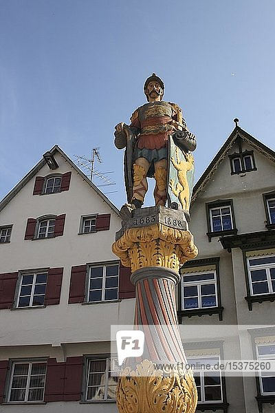 Brunnenwächter  Statue am Marktbrunnen von Biberach a.d. Riss  Oberschwaben  Baden-Württemberg  Deutschland  Europa
