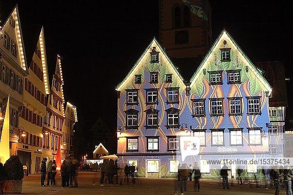Illuminierte Häuserfassaden,  Lichtshow,  Marktplatz in Biberach,  Oberschwaben,  Baden-Württemberg,  Deutschland,  Europa
