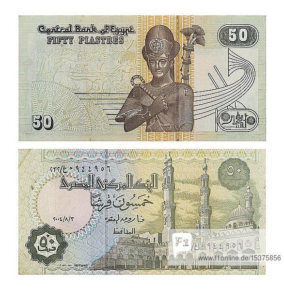 50 Plastres Ägypten  Vorder- und Rückseite  Ägypten  Afrika