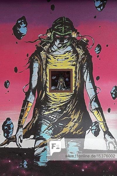 Graffiti  Science-Fiction-Figur  Wandbild vom Streetart Künstler DEIH  Stadtviertel El Carme  Altstadt  Valencia  Spanien  Europa