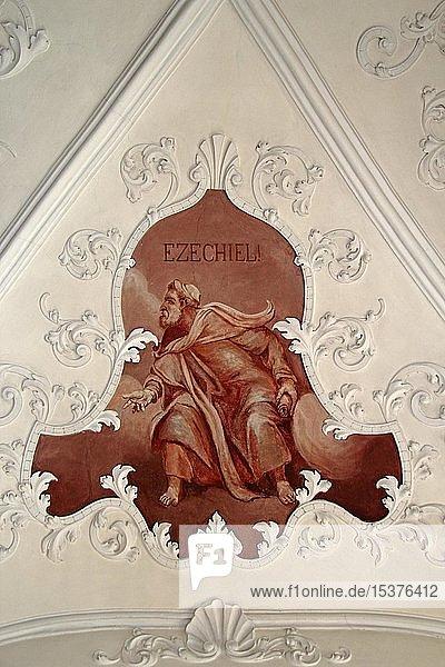 Echeziel  Prophet des Alten Testamentes  Deckengemälde  Kirche St. Simon und Judas in Uttenweiler  Oberschwaben  Baden-Württemberg  Deutschland  Europa