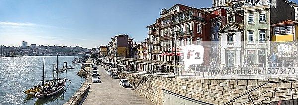 Cais da Ribeira  promenade along the river Douro with colourful houses  Porto  Portugal  Europe