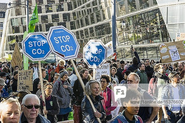 Demonstrators with posters  climate strike demonstration 20.09.2019  fridays for future  Freiburg im Breisgau  Baden-Württemberg  Germany  Europe