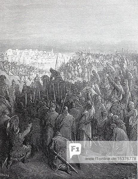 Die Ritter vor den Augen der Stadt Jerusalem  Erster Kreuzzug  historische Illustration  1880  Deutschland  Europa