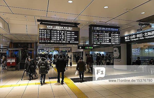 Öffentlicher Nahverkehr  Bahnstation mit Anzeigetafeln  Akihabara Station  Chiyoda  Tokyo  Japan  Asien