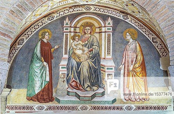 Fresko Madonnenbildnis  Maria mit Jesuskind und Heilige  Fresko 14. Jh.  Chiesa di Santa Sofia  Padua  Venetien  Italien  Europa