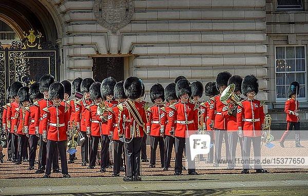 Blaskapelle der Wachmannschaft  Wachwechsel  Changing of the guards  Buckingham Palace  London  England  Großbritannien  Europa