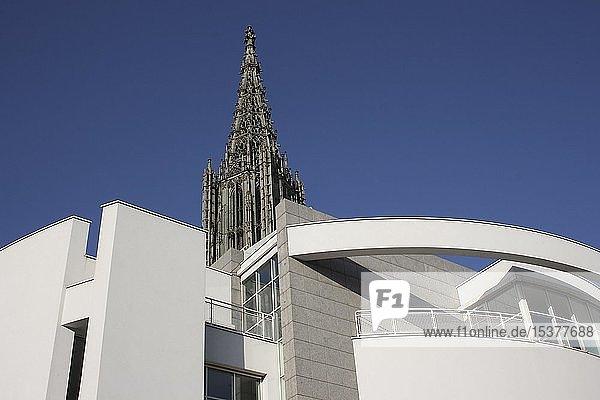 Spitze des Kirchturms vom Ulmer Münster und Fassade vom Stadthaus  Ulm  Baden-Württemberg  Deutschland  Europa