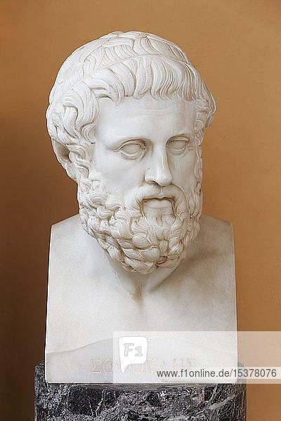 Büste des griechischen Dramatikers Sophokles  Achilleion Palast  Gastouri  Insel Korfu  Ionische Inseln  Griechenland  Europa