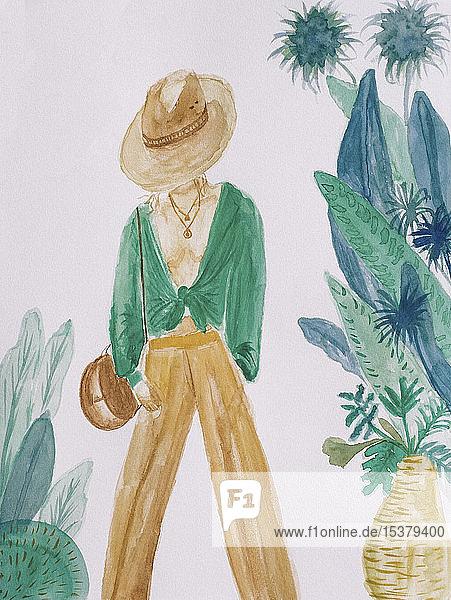 Aquarell einer modischen Frau nach Pflanzen auf weißem Hintergrund