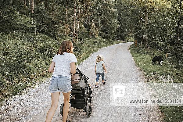 Mutter mit Tochter  Kinderwagen und Hund auf Waldweg