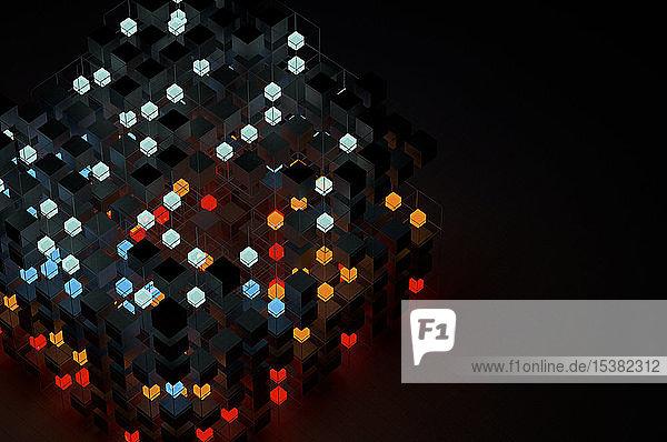 Abstrakte Strukturen von Leuchtwürfeln
