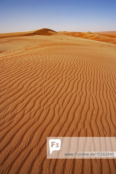 Sultanat Oman  Wahiba Sands  geriffelte Dünen in der Wüste