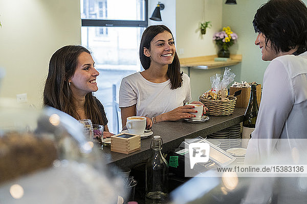 Two happy young female friends at the counter in a cafe