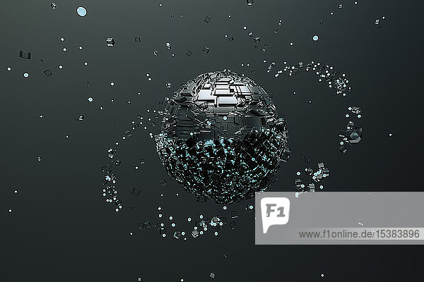 Metallische Kugel  die Partikel anzieht