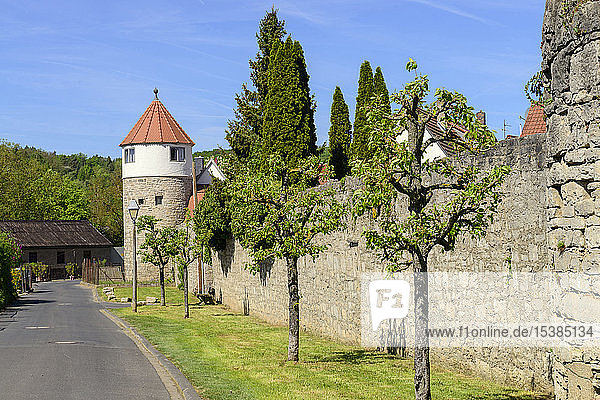 Deutschland  Bayern  Franken  Unterfranken  Eibelstadt  Stadtmauer mit Turm