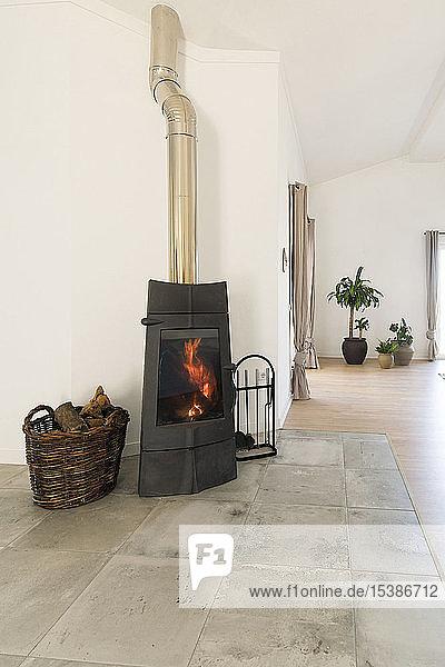 Modernes gemütliches Wohnzimmer mit Kamin