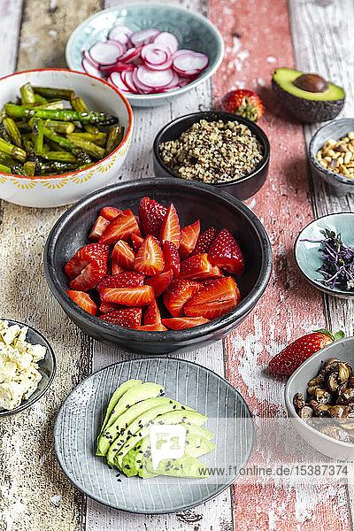 Fresh ingredients for a veggie bowl