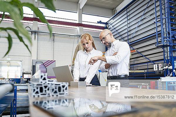 Geschäftsmann und Geschäftsfrau mit Laptop in der Fabrik
