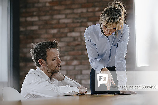 Business people working together on a project  using laptop