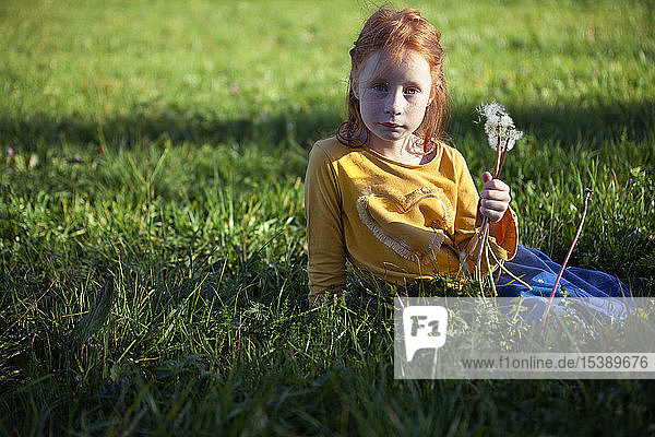 Portrait of girl sitting in field with blowball