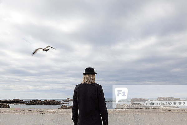 Morocco  Essaouira  rear view of man wearing a bowler hat standing at the sea