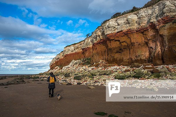 Hunstanton Cliffs near Old Hunstantion on Norfolk coast  where white chalk overlays red limestone in a colourful formation. Known as the Candy Cliffs.