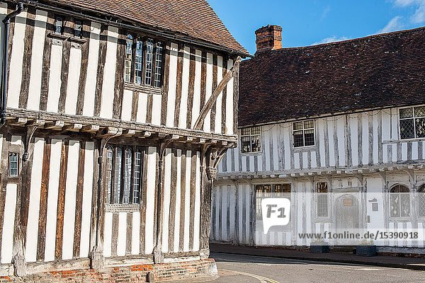Corner of Water Street and Lady Street  Lavenham  Suffolk  England  United Kingdom  Europe.