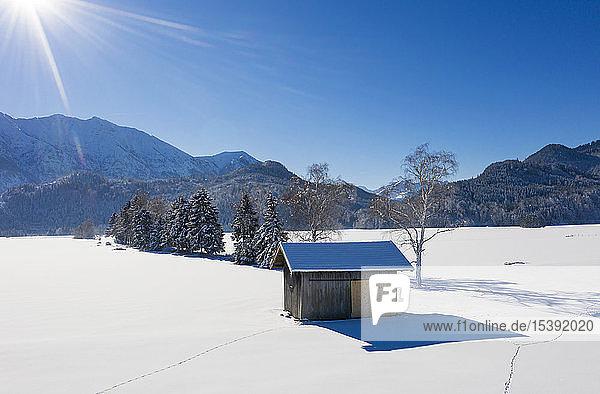 Deutschland  Oberbayern  Werdenfelser Land  bei Eschenlohe  Winterlandschaft  Luftaufnahme der Baracke