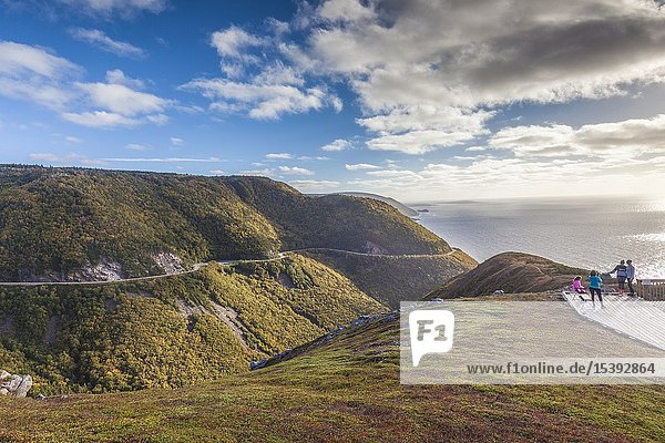 Canada  Nova Scotia  Cabot Trail  Cape Breton Highlands National Park  elevated view of coastal highway 6 from The Skyline Trail.