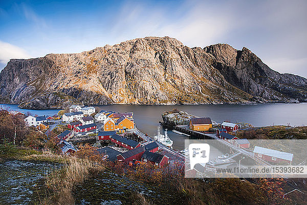 Norway  Lofoten Islands  Nusfjord  houses at the coast