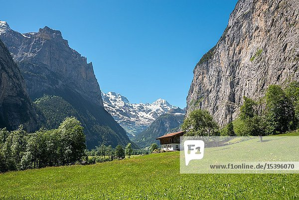 Landscape in the Lauterbrunnen valley  Lauterbrunnen  Bernese Oberland  Switzerland  Europe.