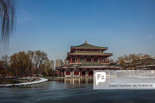 Xian south lake winter scene