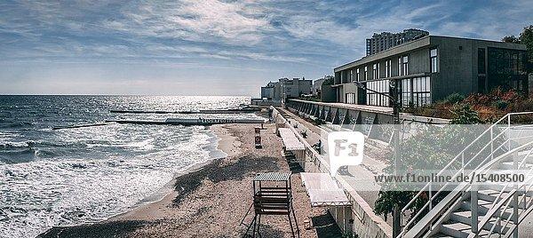 Odessa  Ukraine - 09. 05. 2019. Panoramic view of the autumn beach in the resort of Arcadia in Odessa  Ukraine  on a sunny day.