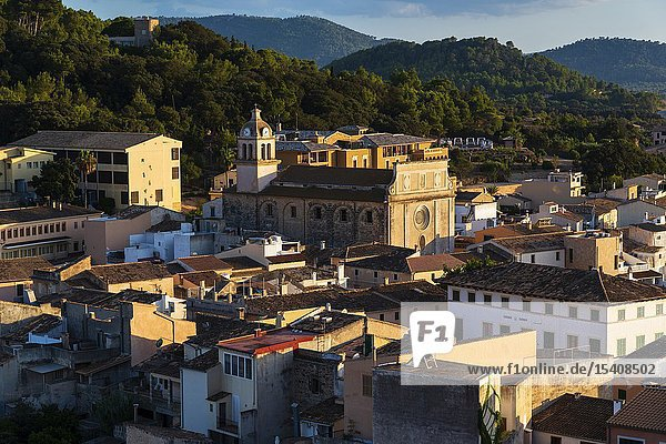Capdepera  Mallorca  Spain  August 14 2019: Sunset view from the castle on the town of Capdepera  Majorca.