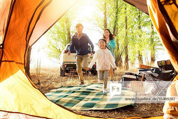 A happy family in the outdoor outing