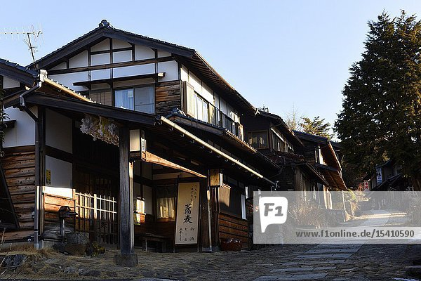 Houses along the main street of Magome  Kiso Valley  Japan  Asia.