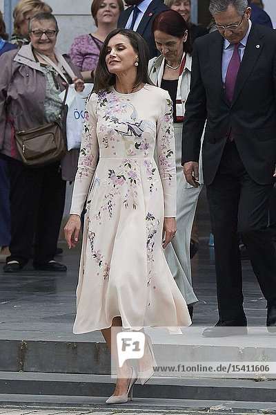 Queen Letizia of Spain attends World Day of the Red Cross and Red Crescent at Auditorio Palacio de Congresos on May 7  2019 in Zaragoza  Aragon