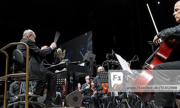 Madrid  Spain- May 07: Italian composer and conductor Ennio Morricone performs on stage during The Final Concerts at the WiZink center on may 07  2019 in Madrid  Spain (Photo by: Angel Manzano)