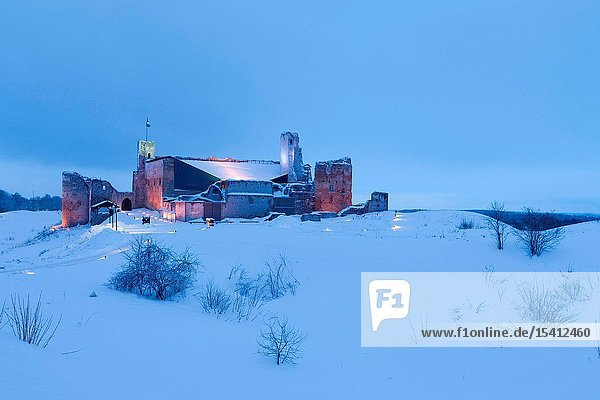 Rakvere castle ruins in winter
