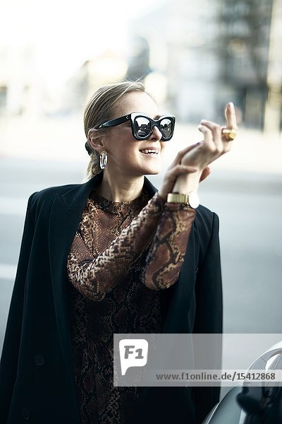 Fashionable woman  in Munich  Germany