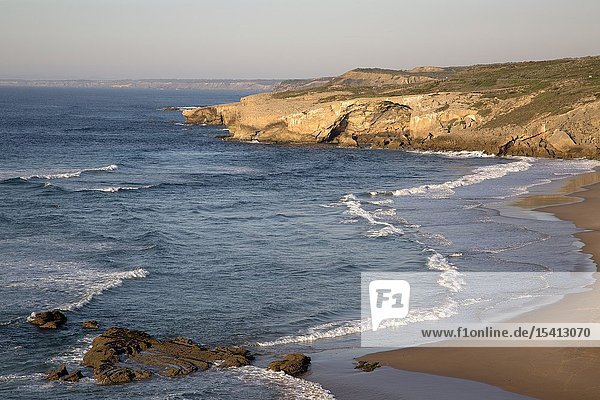 Cliff and Beach  Monte Clerigo  Alentejano  Portugal  Europe.