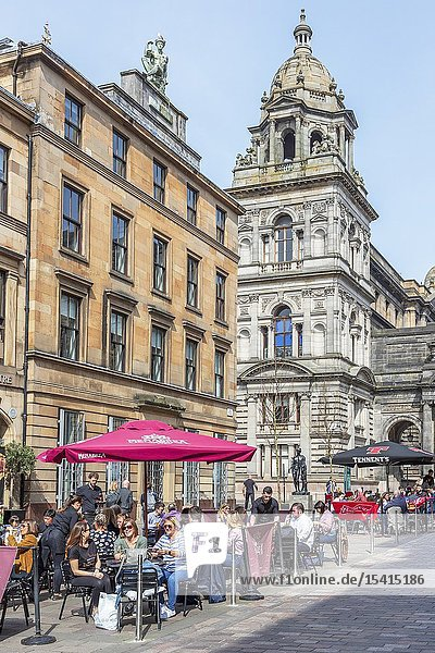 Customers eating outdoors at restaurants and cafes in Glasgow's Italian centre  John Street  Glasgow  Scotland  UK.