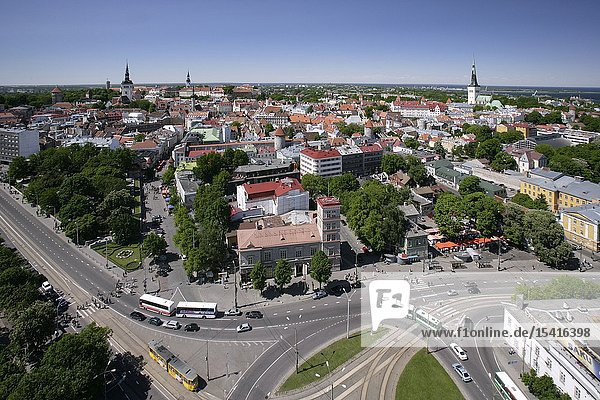 Aerial View of Viru Square  Tallinn City Centre