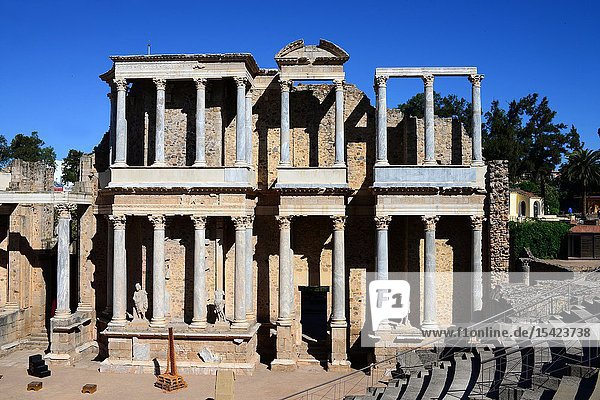 Roman Theatre of Merida  constructed in the years 16 to 15 BCE and promoted by the consul Vipsanius Agrippa in the Roman city of Emerita Augusta  capital of Lusitania (current Mérida  Extremadura  Spain).