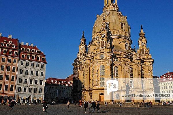 The restored Woman Church at Neumarkt in Dresden.