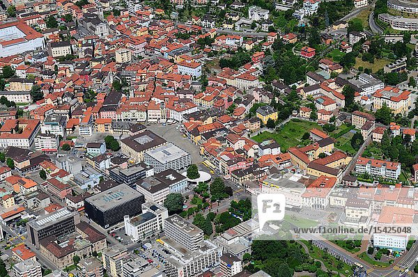 South Switzerland: Airshot from Locarno center  where the Film Festival takes place.