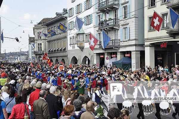 Switzerland: The 'Sechseläuten' Parade at Limmatquai in Zürich City.
