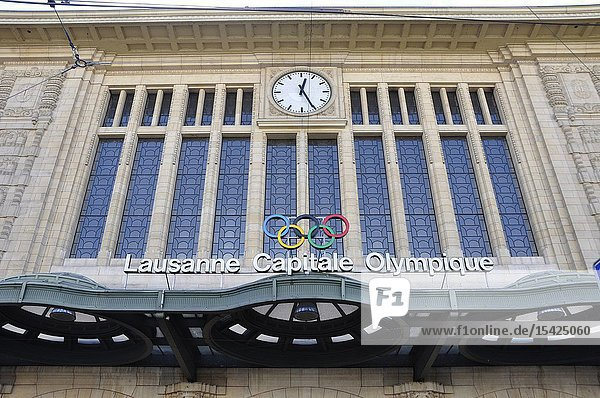 The Olympic RIngs at the Lausanne City train station in Switzerland.