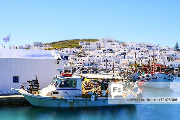 Fishboats on the harbour. Naoussa village. Paros island. Cyclades islands. Greece.